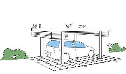 Mithilfe eines Eckrollverschlusses kann ihr Auto in einem Carport sicher untergebracht werden