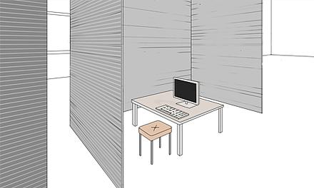 Mithilfe eines Eckrollverschlusses können Räume bei Bedarf individuell aufgeteilt werden