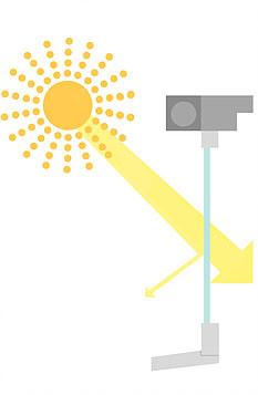 Rollläden bieten einen Schutz vor Sonnenstrahlen; hier: ungeschützt